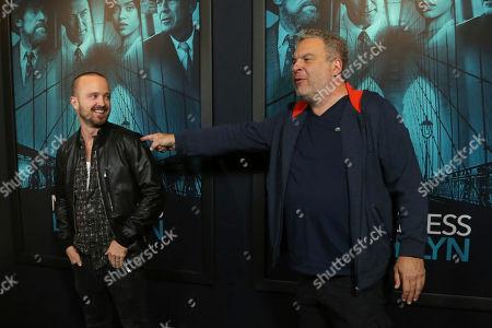 "Aaron Paul, Jeff Garlin. Aaron Paul, left, and Jeff Garlin attend the LA Premiere of ""Motherless Brooklyn"" at the Hollywood American Legion Post 43, in Los Angeles"