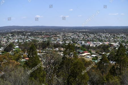 A view of the town of Stanthorpe, Queensland, Australia, 10 October 2019 (issued 29 October 2019). The town of Stanthorpe has been struggling with severe drought and consequential bushfires since September 2019. With the dam's water level down to 25 percent, the town faces an imminent water shortage. Queensland Premier Annastacia Palaszczuk announced in September 2019 a plan to truck in 1.6 million liters of water from a nearby dam to the Storm King Dam, as Stanthorpe is predicted to run out of water by Christmas.