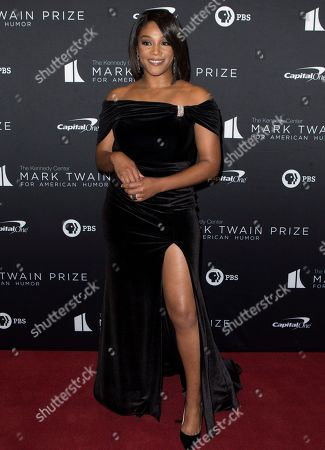 Tiffany Haddish arrives at the Kennedy Center for the Performing Arts for the 22nd Annual Mark Twain Prize for American Humor presented to Dave Chappelle, in Washington, D.C