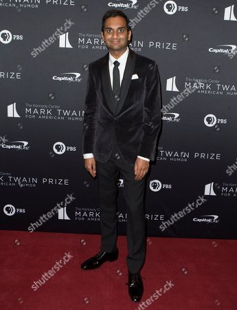 Aziz Ansari arrives at the Kennedy Center for the Performing Arts for the 22nd Annual Mark Twain Prize for American Humor presented to Dave Chappelle, in Washington, D.C