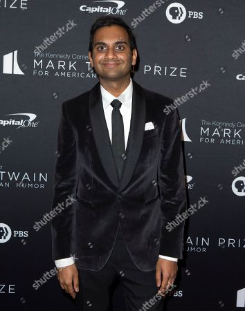 Stock Picture of Aziz Ansari arrives at the Kennedy Center for the Performing Arts for the 22nd Annual Mark Twain Prize for American Humor presented to Dave Chappelle, in Washington, D.C