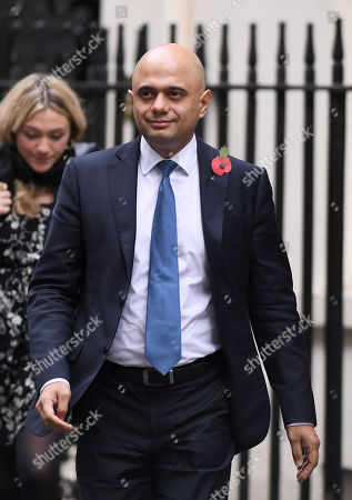 Sajid Javid, Chancellor of the Exchequer, leaving No.10 Downing Street, London.