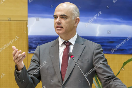 Swiss Interior Minister Alain Berset speaks during the opening of High Mountain Summit, at the headquarters World Meteorological Organization (WMO) in Geneva, Switzerland, 29 October 2019.
