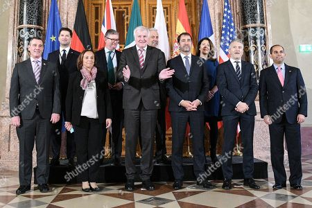 (L-R) United States Vice Minister of Homeland Security David Pekoske, Poland's State Secretary of the Ministry of Interior and Administration Sylvester Tulajew, Italian Interior Minister Luciana Lamorgese, European Comissioner of Security Sir Julian King, German Interior Minister Horst Seehofer, European Comisioner of Migration Dimitris Avramopoulos, Frenche Interior Minister Christophe Castaner, British Home Office Lord's Minister Susan Williams Baroness Williams of Trafford, Spanish Interior Minister Fernando Marlaska and Assistant to the US Deputy Attorney General Sujit Raman pose for a family picture during the G6 Interior Ministers meeting in Munich, Germany, 29 October 2019. The G6 states Interior Ministers meet in Munich to discussmigration, cybercrime and counter-terrorism.