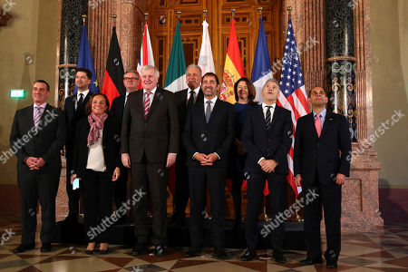 From left: United States Vice Minister of Homeland Security David Pekoske, Poland's State Secretary of the Ministry of Interior and Administration Sylvester Tulajew, Italian Interior Minister Luciana Lamorgese, European Comissioner of Security Sir Julian King, German Interior Minister Horst Seehofer, European Comisioner of Migration Dimitris Avramopoulos, Frenche Interior Minister Christophe Castaner, British Home Office Lord's Minister Susan Williams Baroness Williams of Trafford, Spanish Interior Minister Fernando Marlaska and Assistant to the US Deputy Attorney General Sujit Raman pose during a family photo at a meeting of interior politicians of the of the six largest EU countries, the European Union and the United Sates in Munich, Germany