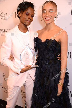 Letitia Wright winner of the Breakthrough Talent award and Adwoa Aboah