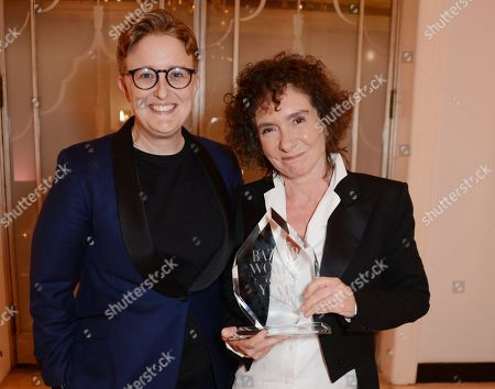 Stock Picture of Ruth Hunt, Baroness Hunt of Bethnal Green and Jeanette Winterson winner of the Writer of the Year award