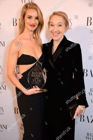 Rosie Huntington-Whiteley winner of the Editor's Choice award and Justine Picardie