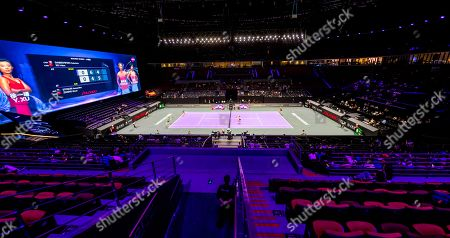 Interior view of the Shenzhen Bay Sports Centre, also known as Spring Cocoon for its shape, during the doubles group match between Yifan Xu and Gabriela Dabrowski (R) and Samantha Stosur and Shuai Zhang (L) at the WTA Finals 2019 tennis tournament in Shenzhen, China, 29 October 2019.