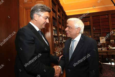 Greek President Prokopis Pavlopoulos (R) welcomes Croatian Prime Minister Andrej Plenkovic (L) during a meeting at the Presidential Palace in Athens, Greece, 29 October 2019, prior to the 4th EU-Arab World Summit. The 4th EU-Arab World Summit entitled 'A strategic partnership', will focus on economic cooperation and investments, especially in the fields of energy, trade, science, technology and healthcare.