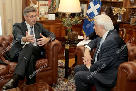 Greek President Prokopis Pavlopoulos (R) talks with Croatian Prime Minister Andrej Plenkovic (L) during a meeting at the Presidential Palace in Athens, Greece, 29 October 2019, prior to the 4th EU-Arab World Summit. The 4th EU-Arab World Summit entitled 'A strategic partnership', will focus on economic cooperation and investments, especially in the fields of energy, trade, science, technology and healthcare.