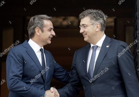 Greek Prime Minister Kyriakos Mitsotakis (L) welcomes his counterpart from Croatia, Andrej Plenkovic (R) during a meeting at the Maximos Mansion in Athens, Greece, 29 October 2019, prior to the beginning of the 4th EU-Arab World Summit. The 4th EU-Arab World Summit entitled 'A strategic partnership', takes place in Athens on 29-30 October and will focus on economic cooperation and investments, especially in the fields of energy, trade, science, technology and healthcare.