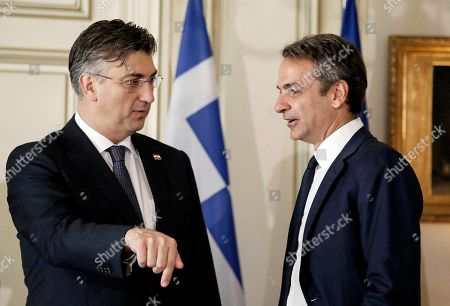 Greek Prime Minister Kyriakos Mitsotakis (R) welcomes his counterpart from Croatia, Andrej Plenkovic (L) during a meeting at the Maximos Mansion in Athens, Greece, 29 October 2019, prior to the beginning of the 4th EU-Arab World Summit. The 4th EU-Arab World Summit entitled 'A strategic partnership', takes place in Athens on 29-30 October and will focus on economic cooperation and investments, especially in the fields of energy, trade, science, technology and healthcare.