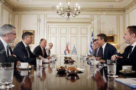 Greek Prime Monister Kyriakos Mitsotakis (2nd-R) talks with his counterpart from Croatia, Andrej Plenkovic (2nd-L) during a meeting at the Maximos Mansion in Athens, Greece, 29 October 2019, prior to the beginning of the 4th EU-Arab World Summit. The 4th EU-Arab World Summit entitled 'A strategic partnership', takes place in Athens on 29-30 October and will focus on economic cooperation and investments, especially in the fields of energy, trade, science, technology and healthcare.