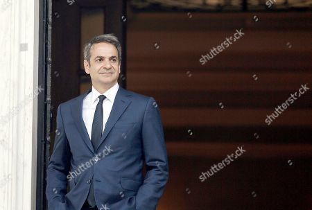 Greek Prime Monister Kyriakos Mitsotakis awaits his counterpart from Croatia, Andrej Plenkovic (not pictured) for a meeting at the Maximos Mansion in Athens, Greece, 29 October 2019, prior to the beginning of the 4th EU-Arab World Summit. The 4th EU-Arab World Summit entitled 'A strategic partnership', takes place in Athens on 29-30 October and will focus on economic cooperation and investments, especially in the fields of energy, trade, science, technology and healthcare.