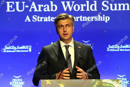 Croatian Prime Minister Andrej Plenkovic delivers a speech during the 4th EU-Arab World Summit. The 4th EU-Arab World Summit entitled ?A strategic partnership?, taking place in Athens on 29-30 October, will focus on economic cooperation and investments, especially in the fields of energy, trade, science, technology and healthcare.