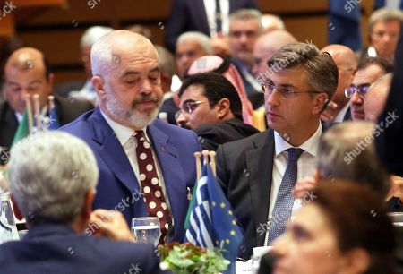 Croatian Prime Minister Andrej Plenkovic (R) talks with his Albanian counterpart Edi Rama (L) during the 4th EU-Arab World Summit in Athes, Greece, 29 October 2019. The 4th EU-Arab World Summit entitled ?A strategic partnership?, taking place in Athens on 29-30 October, will focus on economic cooperation and investments, especially in the fields of energy, trade, science, technology and healthcare.