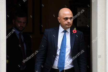 Britain's Chancellor of the Exchequer Sajid Javid leaves 10 Downing Street after attending the weekly Cabinet meeting, in London