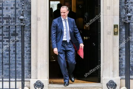 Foreign Secretary Dominic Raab departs from No 10 Downing Street