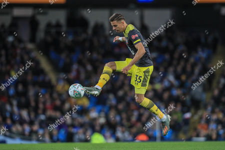 29th October 2019, Etihad Stadium, Manchester, England; Carabao Cup, Manchester City v Southampton : Jan Bednarek (35) of Southampton controls the ball