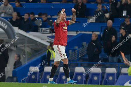 Andreas Pereira of Manchester United celebrates after the Carabao Cup match between Chelsea and Manchester United at Stamford Bridge in London, UK - 30th October 2019