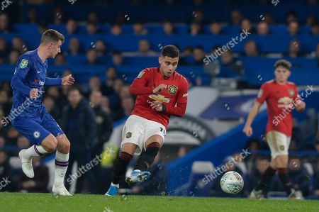 Mason Mount of Chelsea and Andreas Pereira of Manchester United in action during the Carabao Cup match between Chelsea and Manchester United at Stamford Bridge in London, UK - 30th October 2019