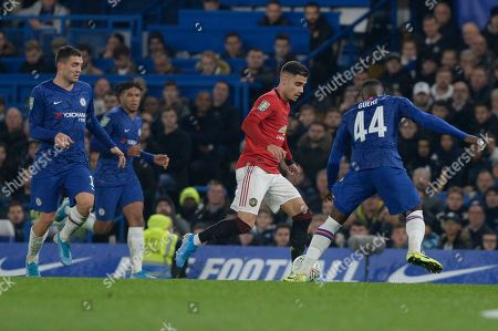 Andreas Pereira of Manchester United in action during the Carabao Cup match between Chelsea and Manchester United at Stamford Bridge in London, UK - 30th October 2019