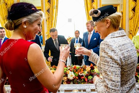 King Willem-Alexander and Queen Maxima with President Andrzej Duda and his partner Agata Kornhauser-Duda during the official visit by the President of Poland to the Netherlands at Noordeinde Royal palace in The Hague.