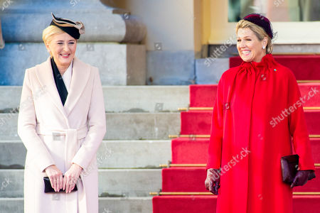 Queen Maxima with Agata Kornhauser-Duda during the official visit by the President of Poland to the Netherlands at Noordeinde Royal palace in The Hague.