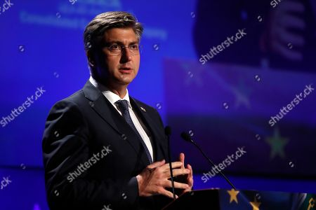 Croatia's Prime Minister Andrej Plenkovic speaks during the fourth EU-Arab World Summit in Athens, . The Summit is an international forum of economic and political dialogue between the European Union and the Arab World