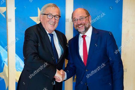 President Jean-Claude Juncker receives Martin Schulz, former President of the European Parliament