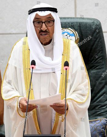 Emir of Kuwait Sheikh Sabah al-Ahmad al-Jaber al-Sabah speaks the fourth ordinary session of the National Assembly's 15th legislative term at Kuwait National Assembly in Kuwait City, Kuwait, 29 October 2019. Kuwaiti Emir inaugurated the fourth session of 15th legislative term of the Kuwaiti National Assembly.