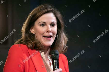 Stock Image of Campbell Brown, head of Facebook's news partnerships team, introduces Facebook CEO Mark Zuckerberg at the Paley Center, in New York