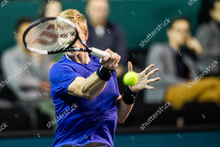 Stock Photo of Kyle Edmund of Great Britain reacts after winning his match against  Ricardas Berankis of Lituania at the Rolex Paris Masters tennis tournament in Paris, France, 29 October 2019.