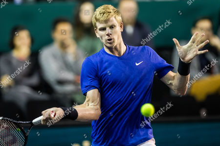 Kyle Edmund of Great Britain in action during his match against Ricardas Berankis of Lituania at the Rolex Paris Masters tennis tournament in Paris, France, 29 October 2019.