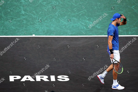 Karen Khachanov of Russia reacts during his second round match against Jan-Lennard Struff of Germany at the Rolex Paris Masters tennis tournament in Paris, France, 29 October 2019.