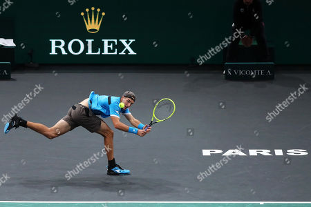 Jan-Lennard Struff of Germany in action against Karen Khachanov of Russia during their second round match at the Rolex Paris Masters tennis tournament in Paris, France, 29 October 2019.