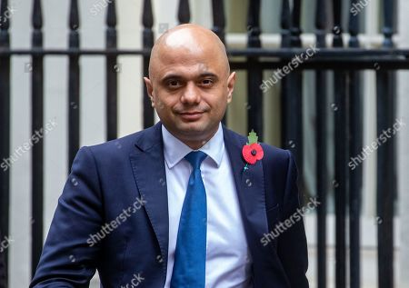 Sajid Javid, Chancellor of the Exchequer, leaves Number 11 after the Cabinet meeting.