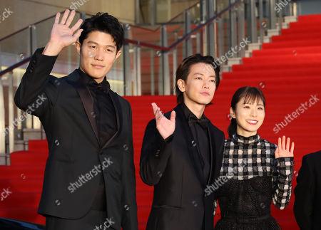 Ryohei Suzuki, Takeru Sato and Mayu Matsuoka