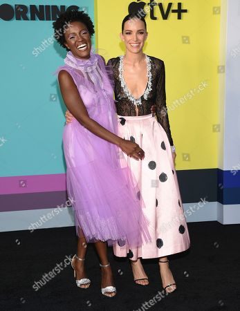 """Krys Marshall, Jodi Balfour. Krys Marshall, left, and Jodi Balfour attend the world premiere of Apple's """"The Morning Show"""" at David Geffen Hall, in New York"""