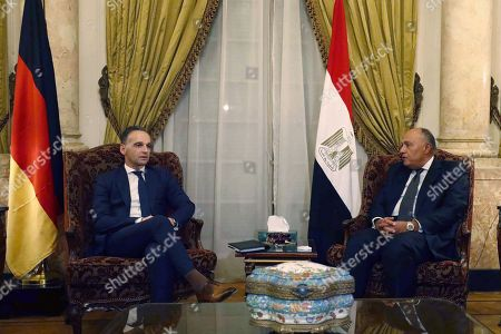 German Foreign Minister Heiko Maas (L) meets with Egyptian Foreign Minister Sameh Shoukry (R) in Cairo, Egypt, 29 October 2019.