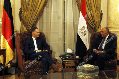 Stock Picture of German Foreign Minister Heiko Maas (L) meets with Egyptian Foreign Minister Sameh Shoukry (R) in Cairo, Egypt, 29 October 2019.