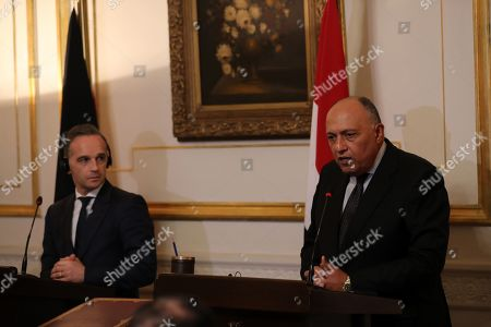 Stock Photo of German Foreign Minister Heiko Maas (L) and Egyptian Foreign Minister Sameh Shoukry (R) during their press conference in Cairo, Egypt, 29 October 2019.