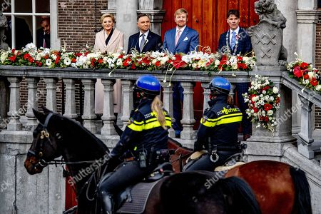 Dutch King Willem-Alexander (C-R), Polish President Andrzej Duda (C-L), his wife Agata Kornhauser-Duda (L) and major Paul Depla watch a parade in Breda, Netherlands, 29 October 2019. The king and the president attended the celebration of 75 years of liberation of Breda.
