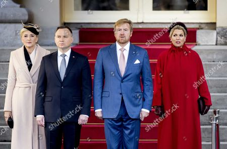 Dutch King Willem-Alexander (C-R), President Andrzej Duda of Poland (C-L), his wife Agata Kornhauser-Duda (L) and Dutch Queen Maxima inspect the guard of honor at Noordeinde Palace in The Hague, The Netherlands, 29 October 2019. The Polish president made an official visit to The Netherlands.