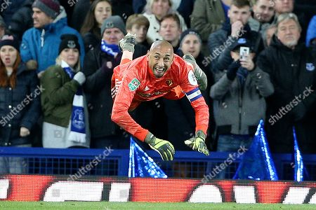 Acrobatic throw out from Watford goalkeeper Heurelho Gomes (1)  during the EFL Cup match between Everton and Watford at Goodison Park, Liverpool