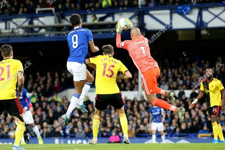 Watford goalkeeper Heurelho Gomes (1)  cuts out the cross ball during the EFL Cup match between Everton and Watford at Goodison Park, Liverpool