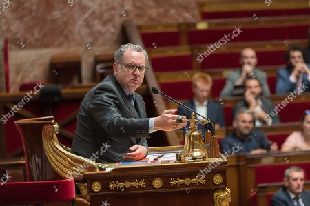 Stock Picture of President of the French National Assembly Richard Ferrand during the weekly session of questions to the government at the national Assembly.
