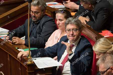 Alexis Corbiere, Caroline Fiat, Jean-Luc Melenchon during the weekly session of questions to the government at the national Assembly.