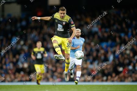 Jan Bednarek of Southampton F.C. during the EFL Cup match between Manchester City and Southampton at the Etihad Stadium, Manchester